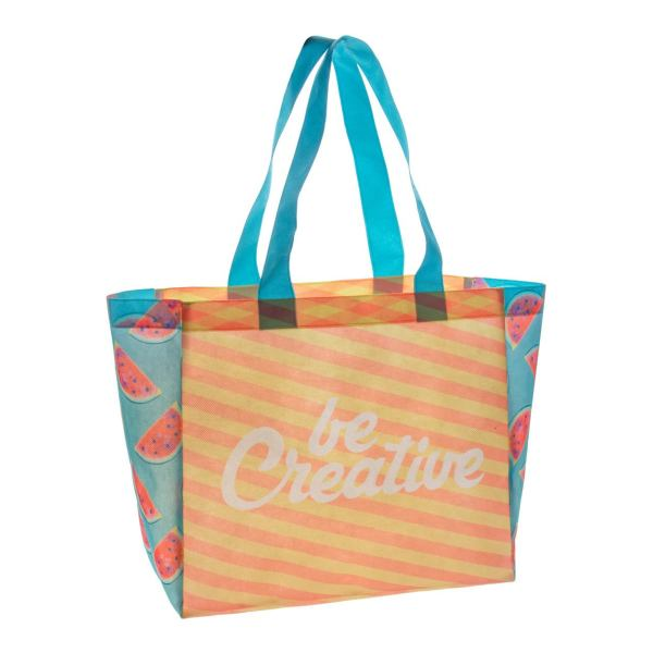 Custom non woven schoudertas shopper full colour druk